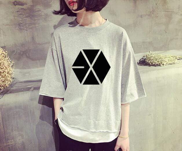 Exo Apparel: T-Shirts, Tops Loose Faux Layered T-Shirt Gray / M