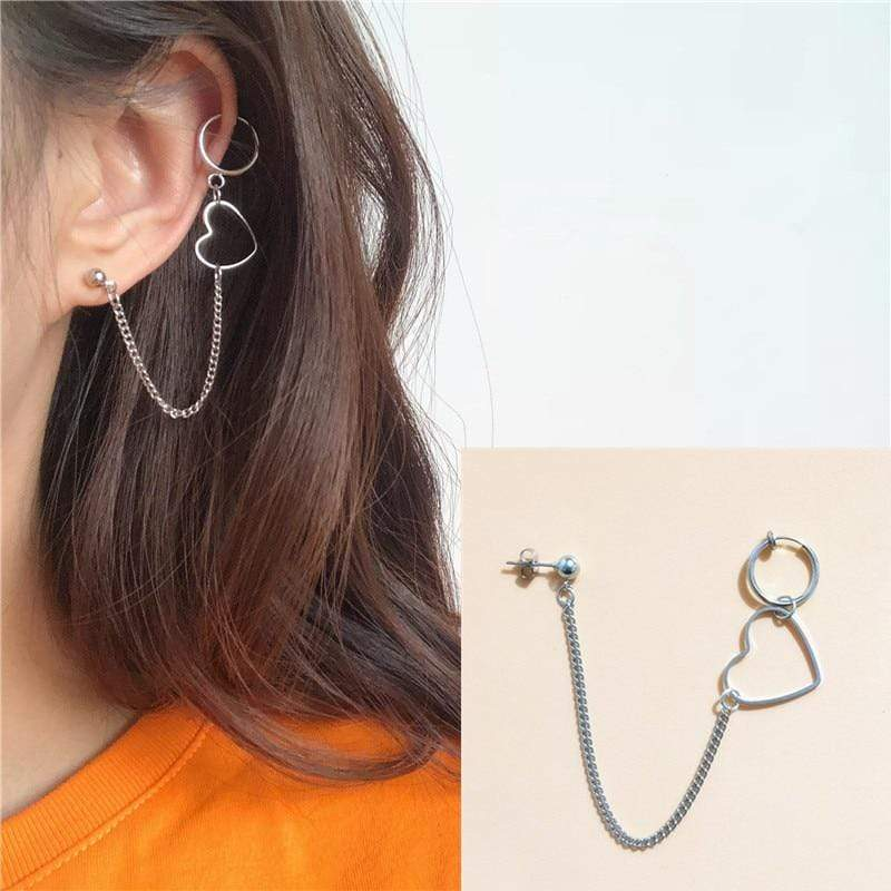 K-Style Accessories: Jewelry Heart Chain Link Single Earring
