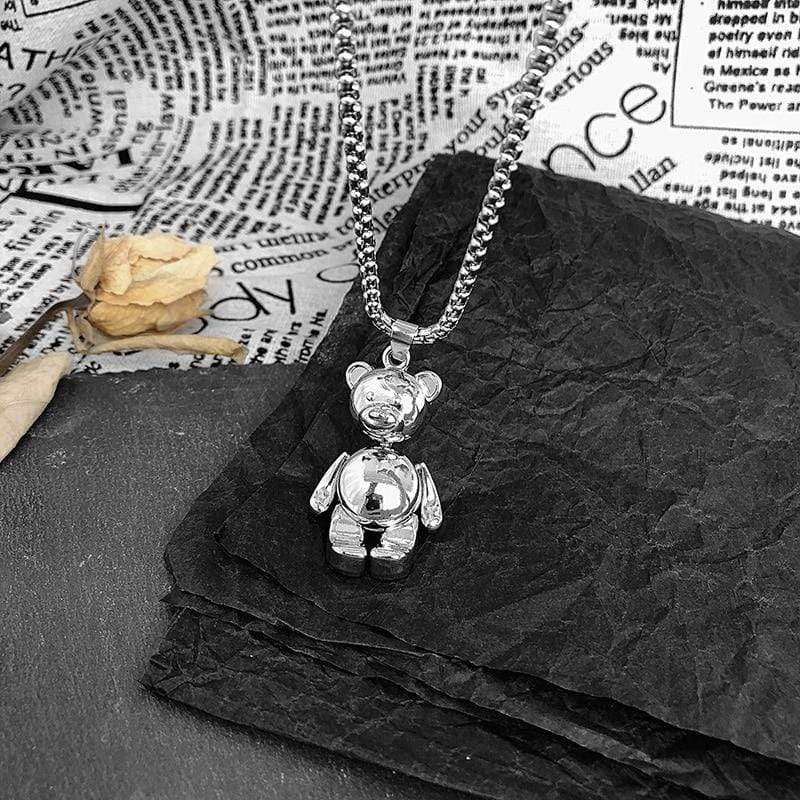 K-Style Accessories: Jewelry Silver Metal Bear Necklace