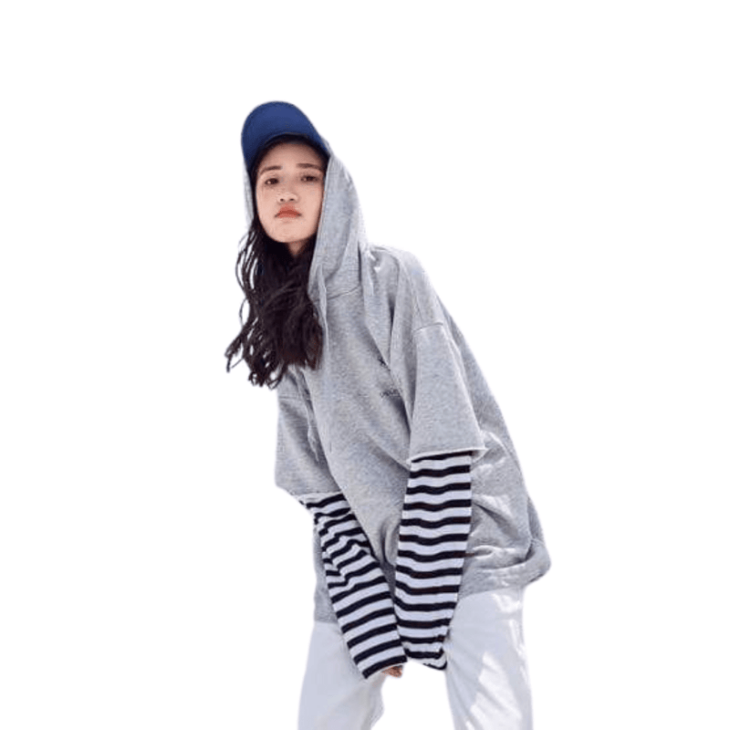 K-Style Apparel: Hoodies, Sweatshirts Striped Sleeve Layered Hoodie