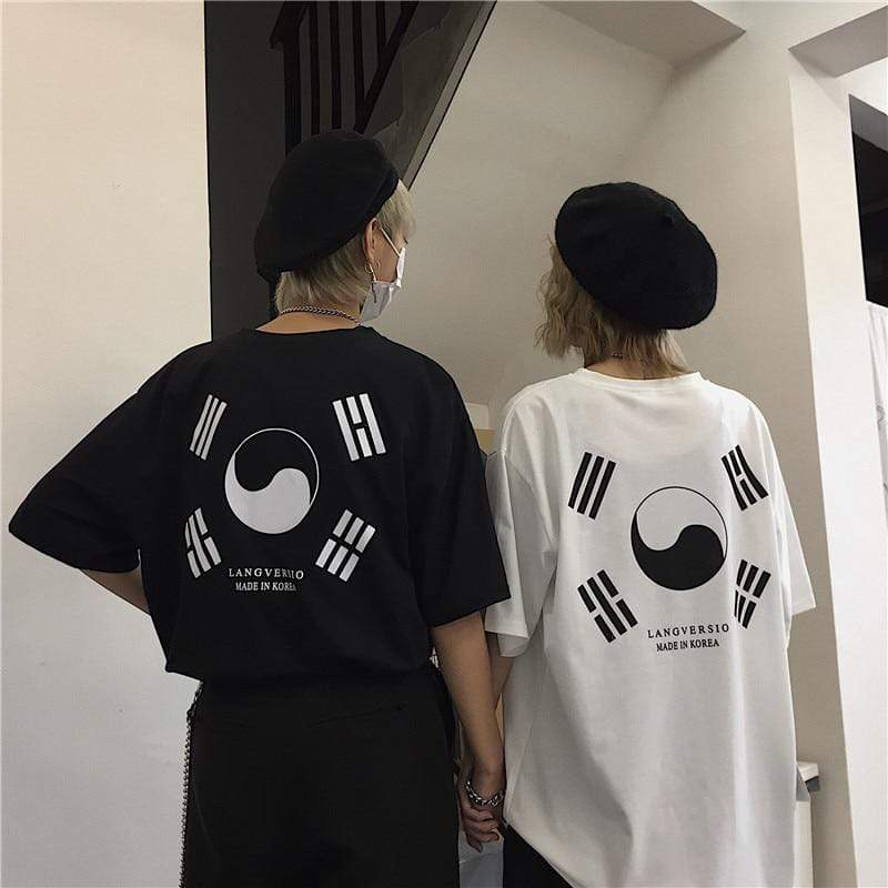 K-Style Apparel: T-Shirts, Tops Korean Flag Baggy T-Shirt