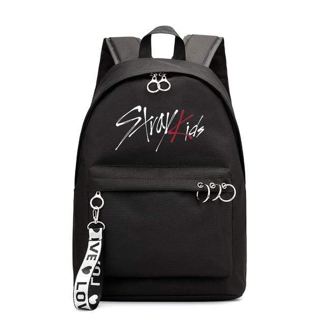 Stray Kids Accessories: Bags, Backpacks Canvas Logo Backpack | Black