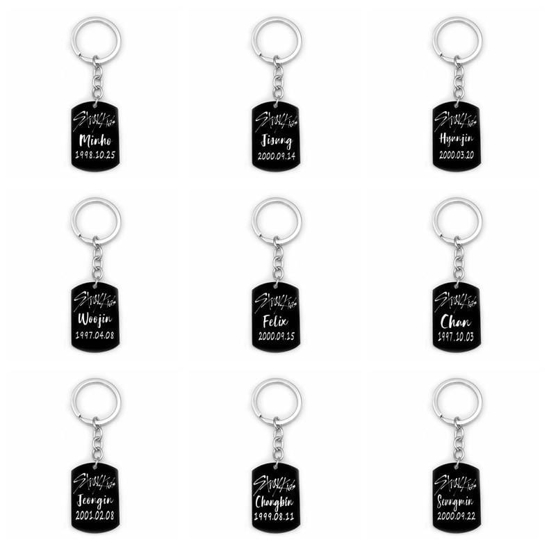 Stray Kids Accessories: Keychains Logo Bias Birthday Black Metal Pendant Keychain