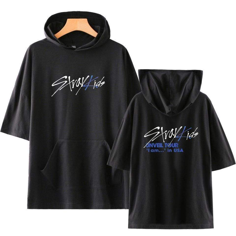 Stray Kids Apparel: T-Shirts, Tops Logo Hooded T-Shirt