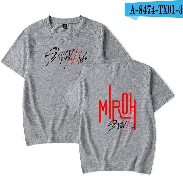Stray Kids Apparel: T-Shirts, Tops Miroh Logo T-Shirt grey 4 / XXS