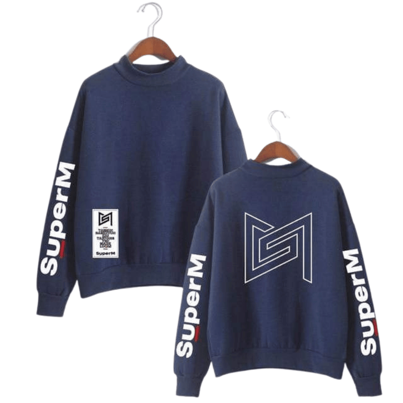 SuperM Apparel: Hoodies, Sweatshirts Back Outline Icon Sweatshirt Navy / XXS