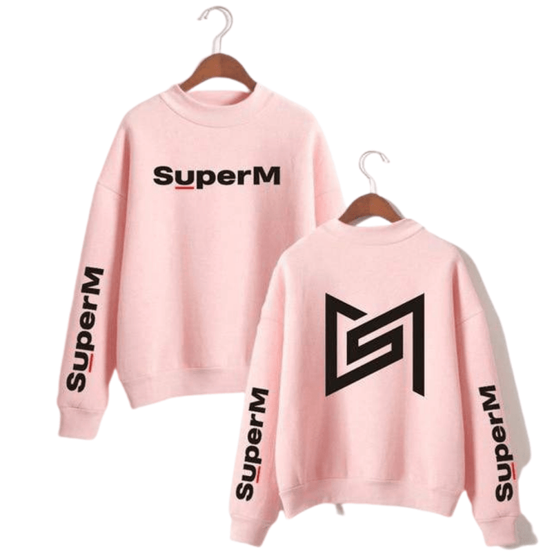 SuperM Apparel: Hoodies, Sweatshirts Front Logo Back Icon Sweatshirt Pink / XS