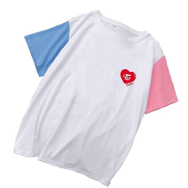 Twice Apparel: T-Shirts, Tops Color Block Heart Logo T-Shirt | Multiple