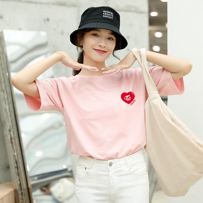 Twice Apparel: T-Shirts, Tops Heart Logo Loose T-Shirt | Multiple