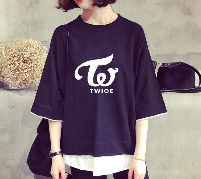 Twice Apparel: T-Shirts, Tops Logo Loose Faux Layered T-Shirt Navy / M