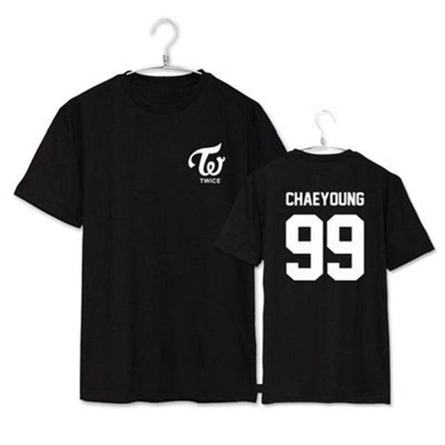 Twice Apparel: T-Shirts, Tops Simple Logo Bias T-Shirt | Multiple Chaeyoung / S