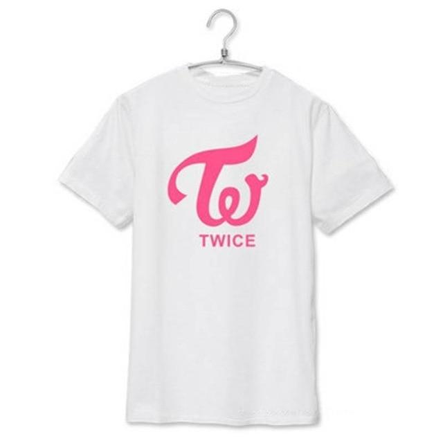 Twice Apparel: T-Shirts, Tops Simple Logo T-Shirt | Multiple White | Pink logo / S
