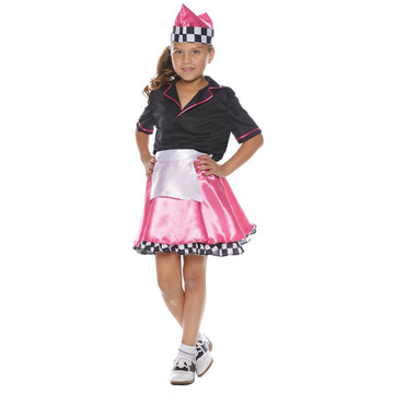 50s Car Hop Girls Costume Sm 4-6 - 50s Car Hop Girls Costume Sm 4-6 Girls