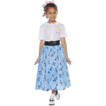 50s Skirt Set Girls Costume Lg 10-12 - 50s Costume Girls Costumes Halloween