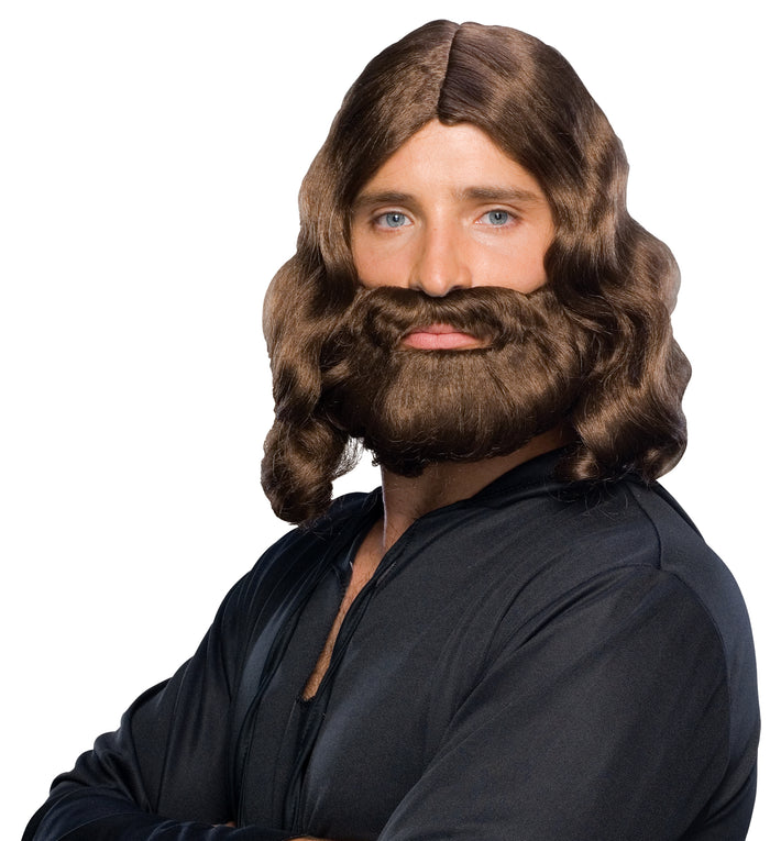 Biblical Beard & Wig Brown, Biblical Costume, Halloween Costumes, Mustache & Beards Costume, white wig