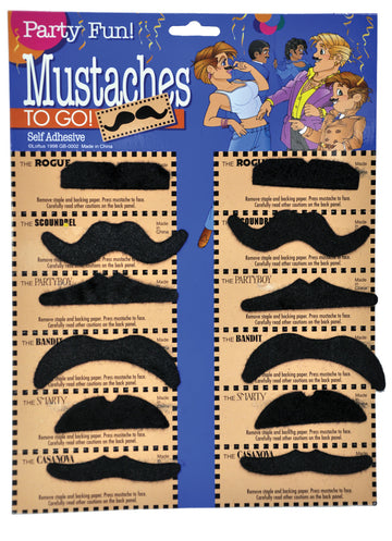 20's - 40's Costume, Halloween Costumes, Mustache & Beards Costume, Mustache Card Of 12 Eq 1