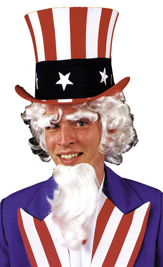 Halloween Costumes, Holiday Costumes, Uncle Sam Wig Goatee Eyebrow G, white wig, Wigs & Hair Costume