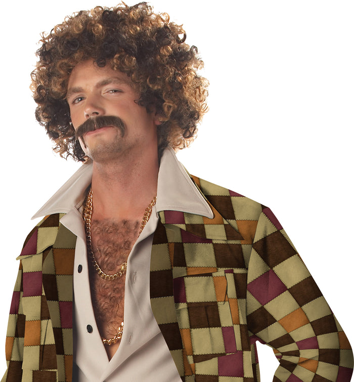 60's - 70's Costume, Disco Dirt Bag Wig & Mustache, Halloween Costumes, Mustache & Beards Costume, Wigs & Hair Costume
