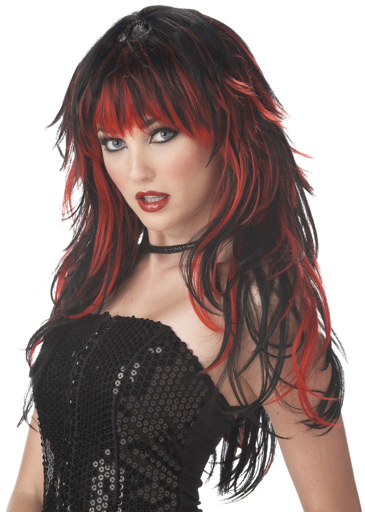 Gothic & Vampire Costume, Halloween Costumes, Tempting Tresses Red Black Adult Wig, Wigs & Hair Costume