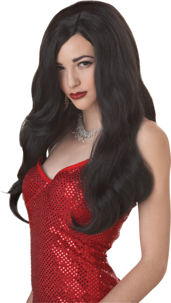 Halloween Costumes, Holiday Costumes, Silver Screen Sinsat Black Adult Wig, Wigs & Hair Costume