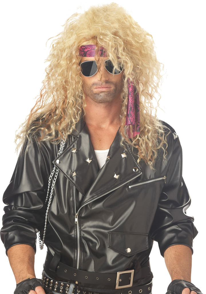 Halloween Costumes, Heavy Metal Rocker Blonde Adult Wig, Wigs & Hair Costume