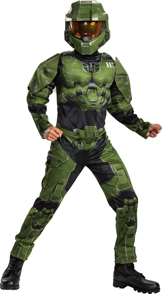 Master Chief Infinite Muscle Boys Costume Lg