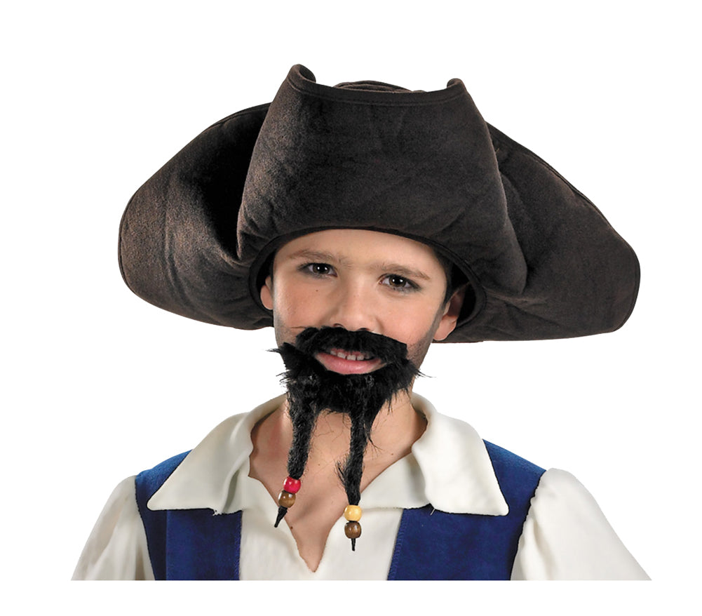 child pirate hat with moustache and goatee, halloween costumes, hats