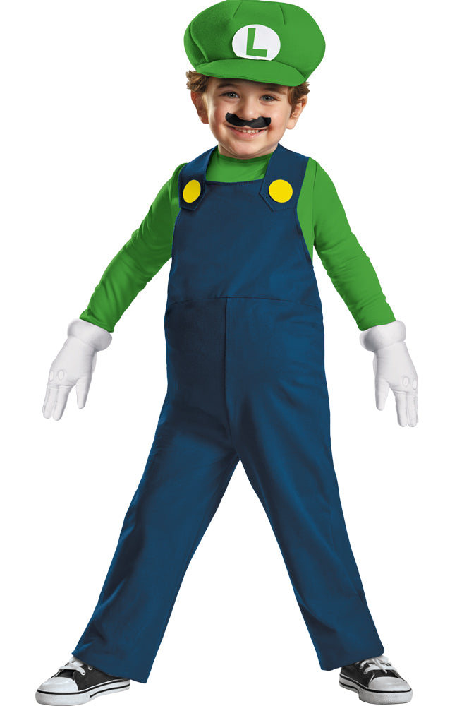Mario Brothers Costume, Game Costume, Toddler Costumes, Luigi Toddler Toddler Costume 3T-4T, Halloween Costumes