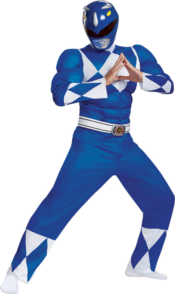 Mighty Morphin Blue Ranger Classic Muscle Mens Costume XXl
