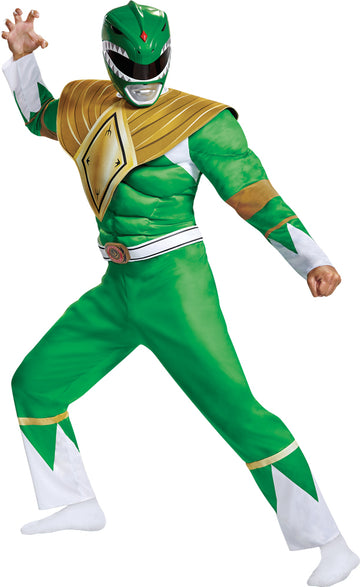 Mighty Morphin Green Ranger Classic Muscle Mens Costume Xl