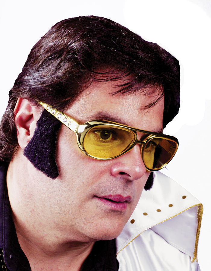 Elvis Costume, Glasses Gloves & Neckwear Costume, Glasses Rocker W Sideburns, Halloween Costumes, Mustache & Beards Costume