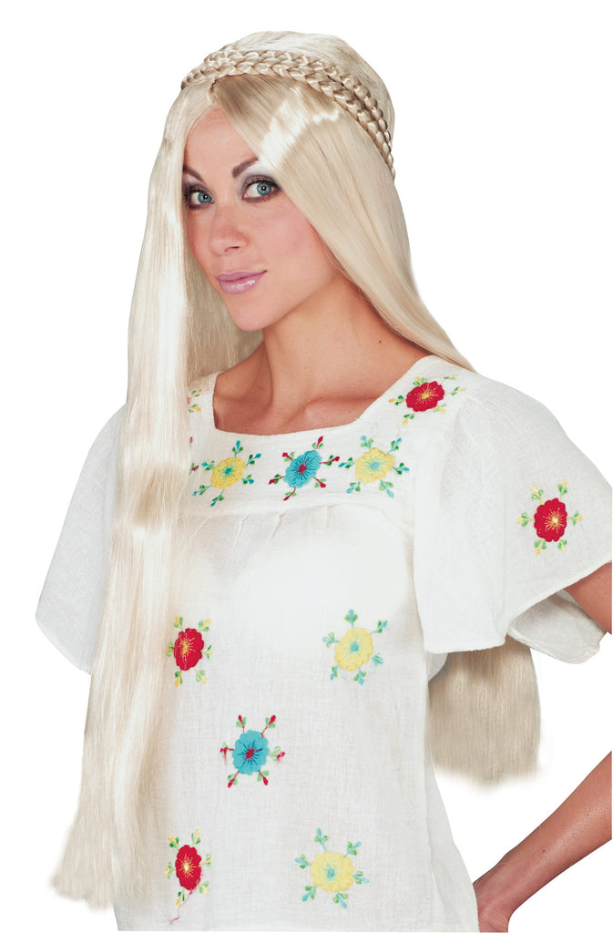 Halloween Costumes, Hippie Girl Wig, white wig, Wigs & Hair Costume