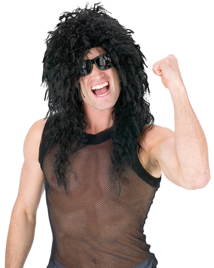 80's Costume, Halloween Costumes, Headbanger Wig Black, white wig, Wigs & Hair Costume