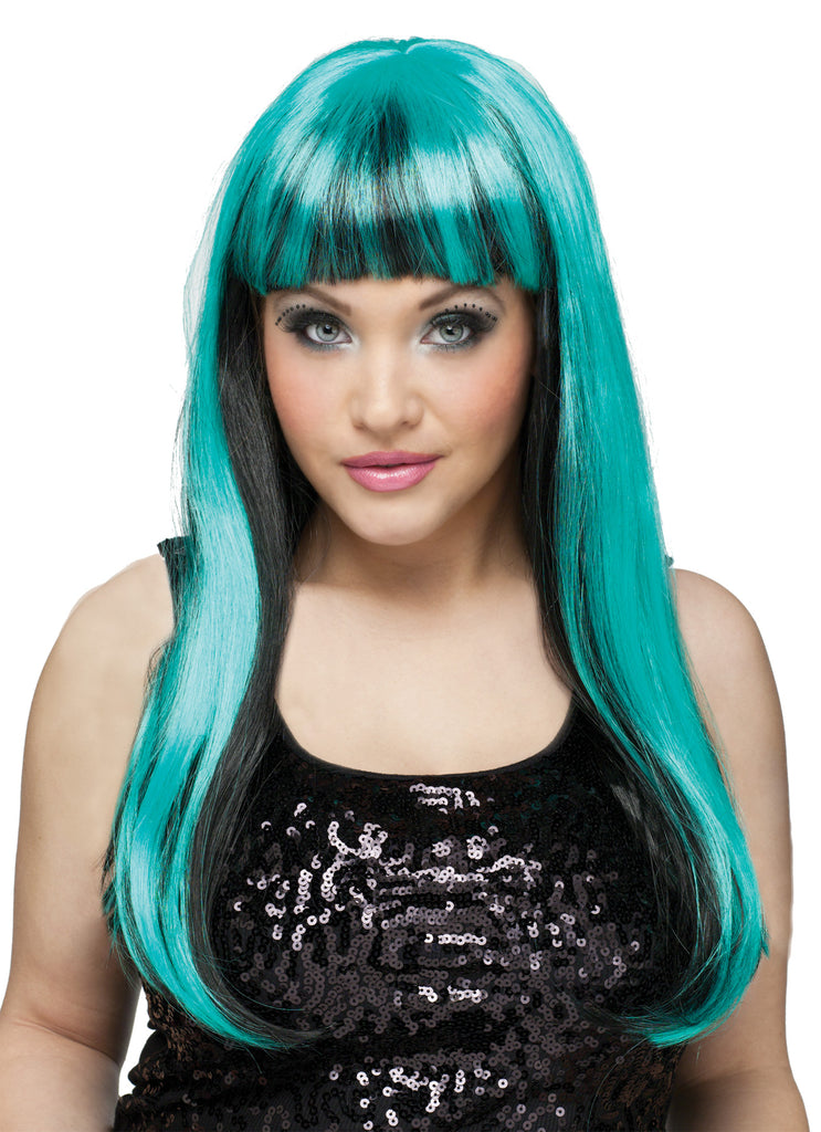 Halloween Costumes, white wig, Wig Natural N Neon Black-Teal, Wigs & Hair Costume