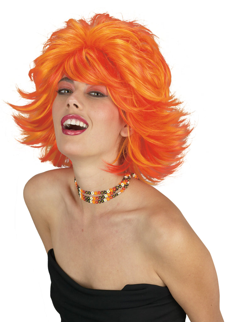 Choppy Wig Red Orange, Halloween Costumes, white wig, Wigs & Hair Costume