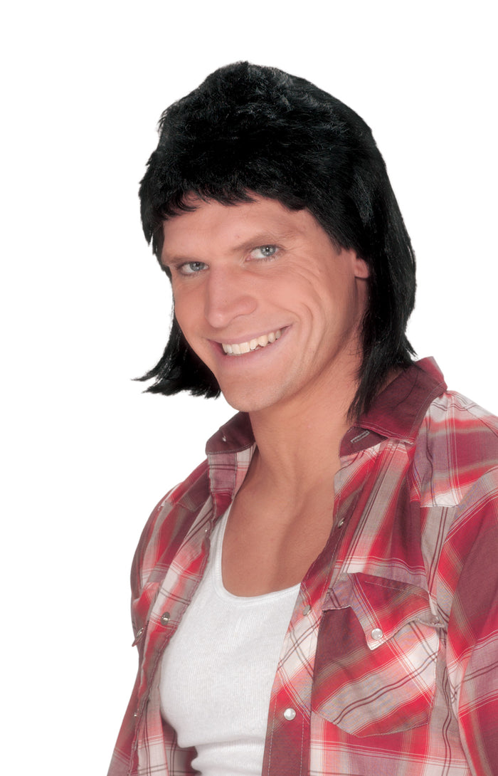 80's Costume, Halloween Costumes, Mullet Wig Black, white wig, Wigs & Hair Costume