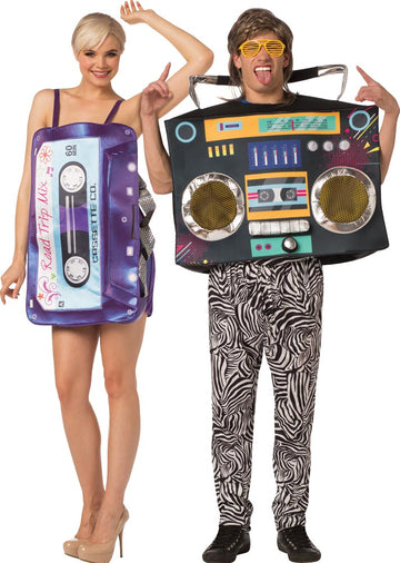 Mix Tape Dress Boom Box Adult Couples Costume