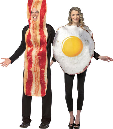 Bacon Slice Fried Eggs Adult Couples Costume