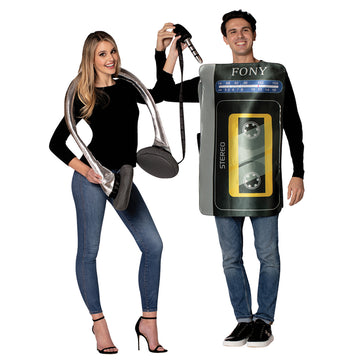 Cassette Player & Headphone Set Adult Couples Costume