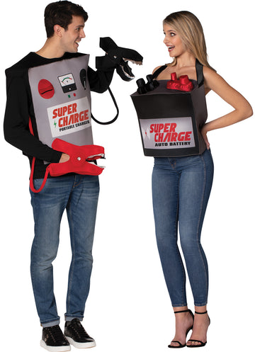 Battery & Jumper Cables Couple Mens Costume