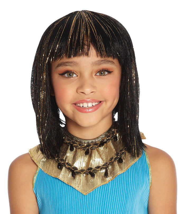 Cleo Child Costume Wig Black With Gold, Egyptian Costume, Halloween Costumes, white wig, Wigs & Hair Costume