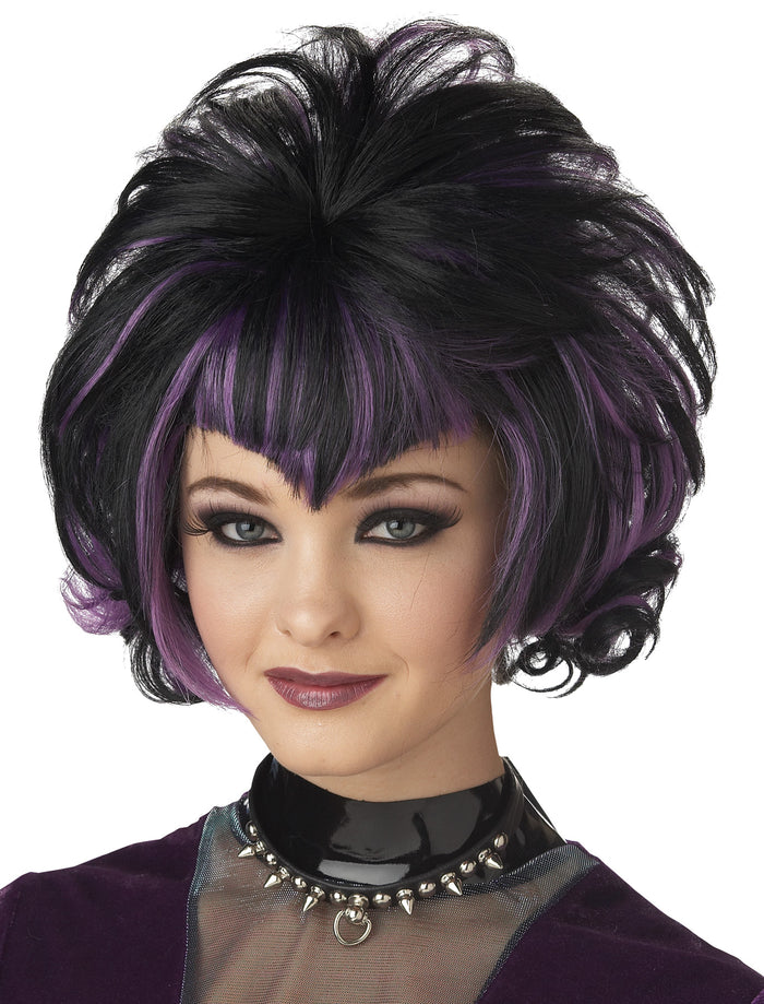 Black/Purple Goth Flip Wig, Gothic & Vampire Costume, Halloween Costumes, white wig, Wigs & Hair Costume
