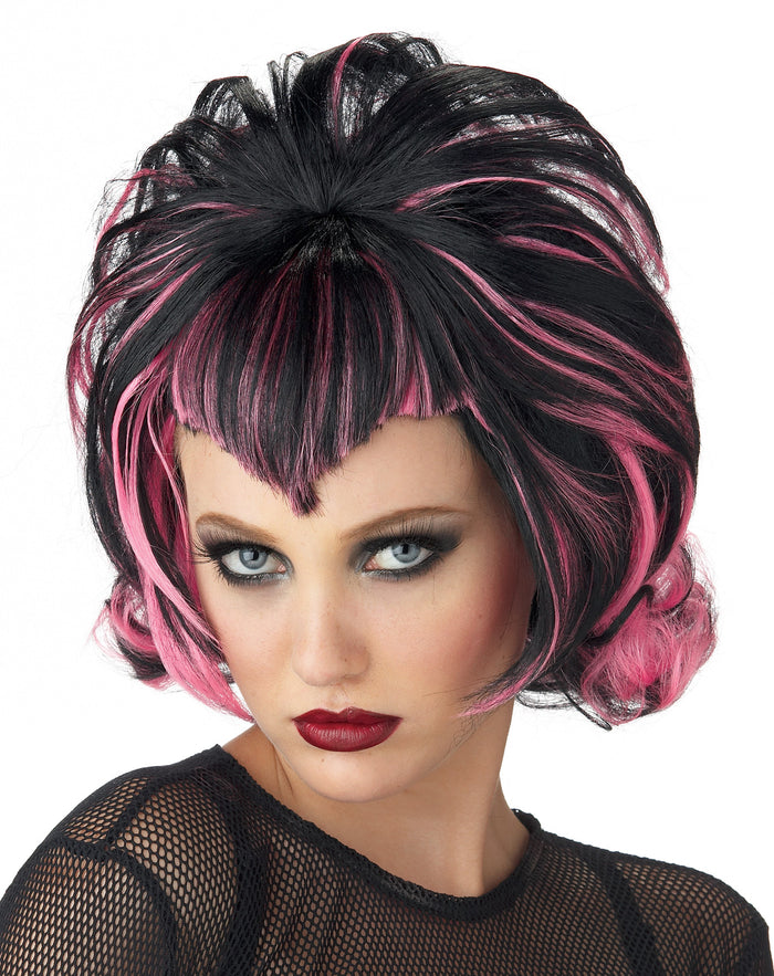 Black/Pink Goth Flip Wig, Gothic & Vampire Costume, Halloween Costumes, white wig, Wigs & Hair Costume
