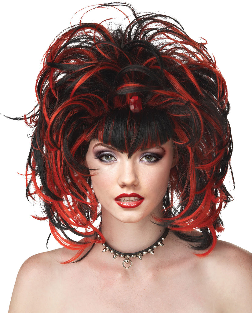 Black/Red Evil Sorceress Wig, Demon & Devil Costume, Gothic & Vampire Costume, Halloween Costumes, white wig, Wigs & Hair Costume, Witch & Wizard Costume