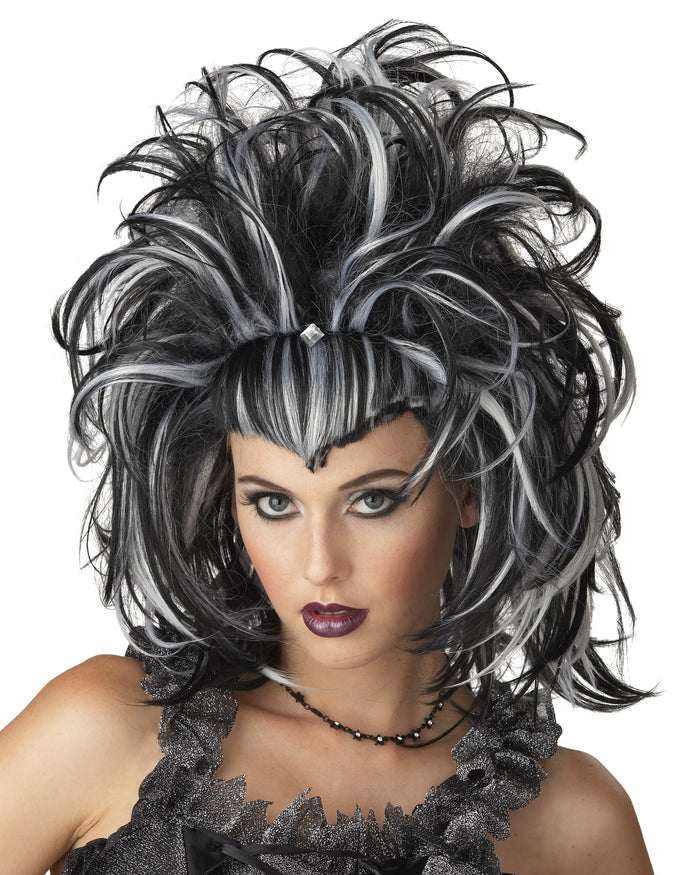 Black/White Evil Sorceress Wig, Halloween Costumes, white wig, Wigs & Hair Costume, Witch & Wizard Costume