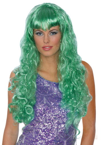 Halloween Costumes, Holiday Costumes, Mermaid Wig Green, white wig, Wigs & Hair Costume