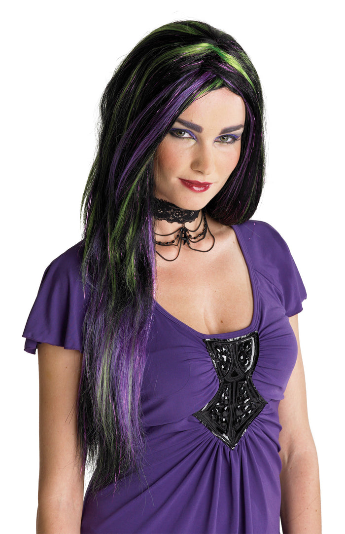 Halloween Costumes, Rebel Witch Wig Blk/Pur/Green, white wig, Wigs & Hair Costume