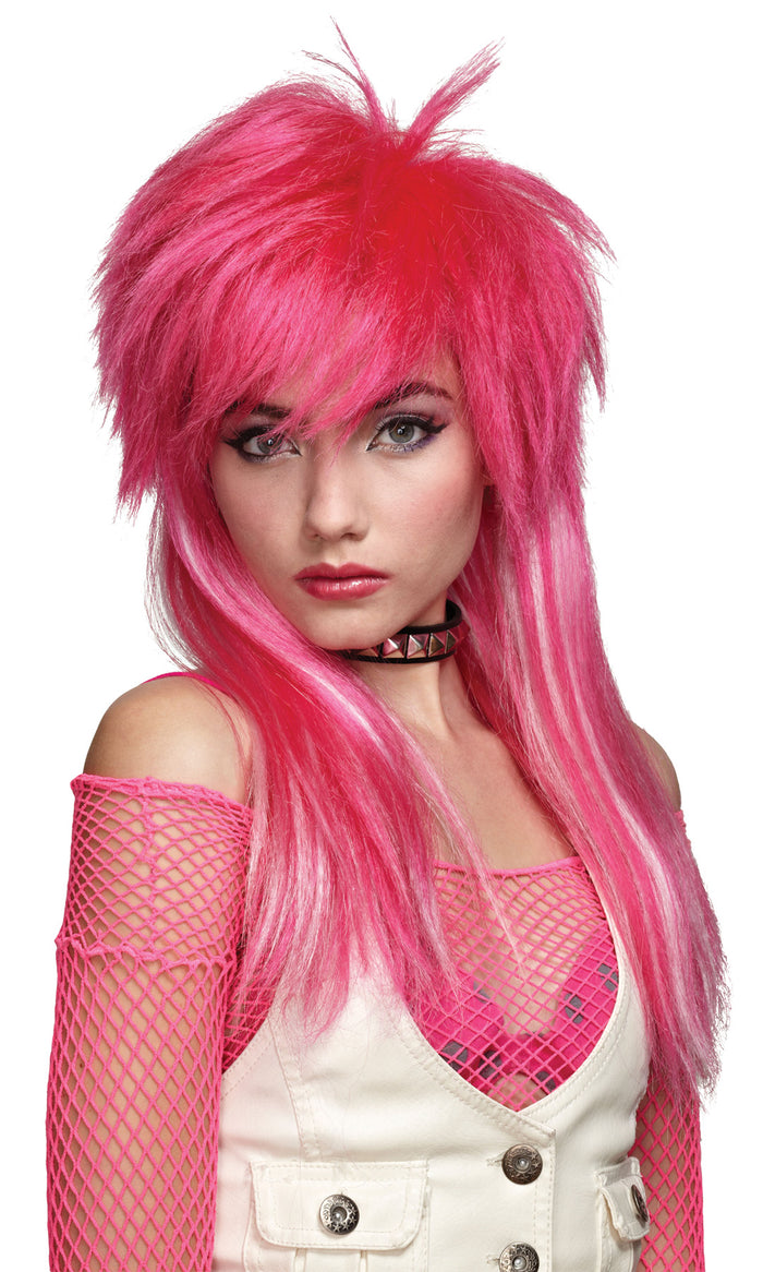 80's Costume, Halloween Costumes, Hot Pink White Glam Wig, white wig, Wigs & Hair Costume