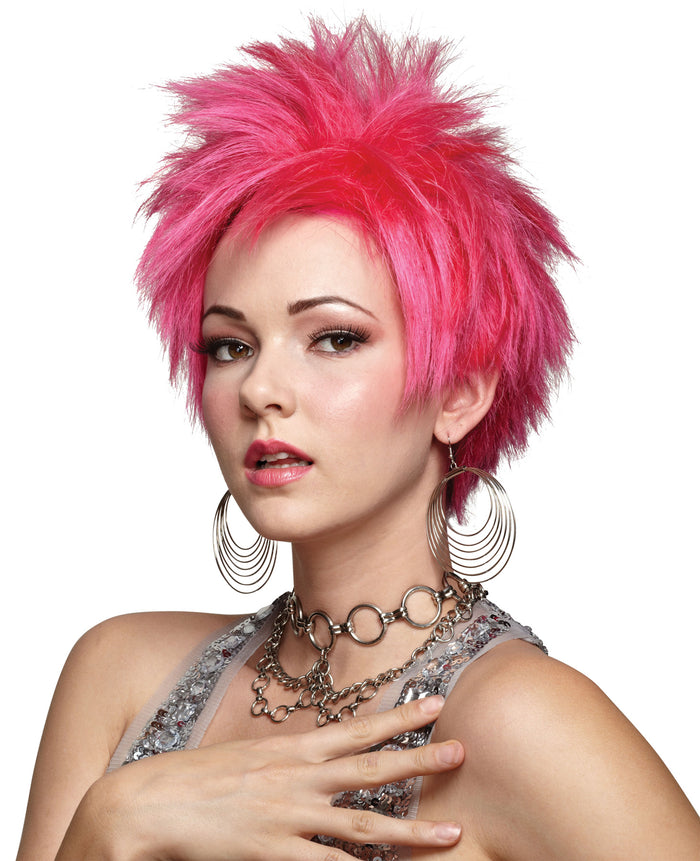 80's Costume, Halloween Costumes, Hot Pink Vivid Wig, white wig, Wigs & Hair Costume