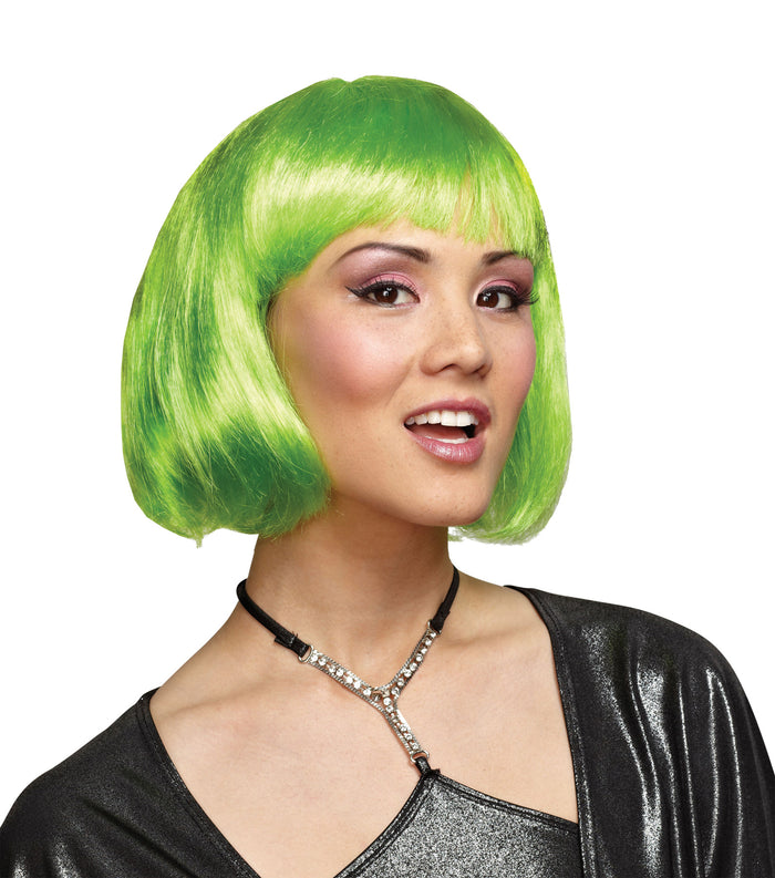 80's Costume, Green Bob Wig, Halloween Costumes, white wig, Wigs & Hair Costume